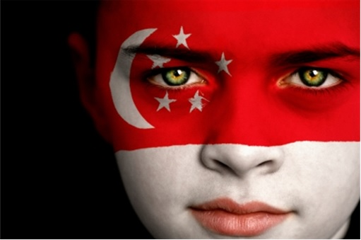 Singapore Flag on Face