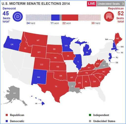 U.S. 2014 MidTerms Election - Senate Map