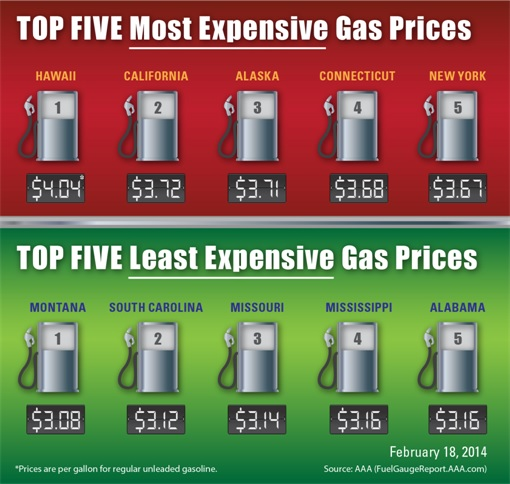 USA Example Gasoline Prices Different Across States