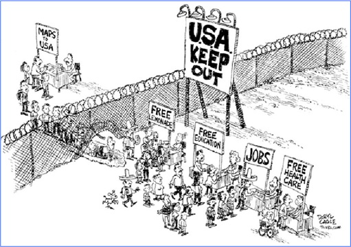 USA Illegal Immigrants - Cartoon