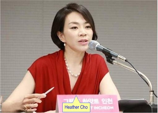 Korean Airline Heather Cho - Press Conference dressed in red