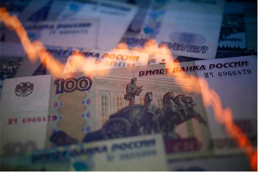 Russia Ruble Tumbles - Downward Chart Superimpose