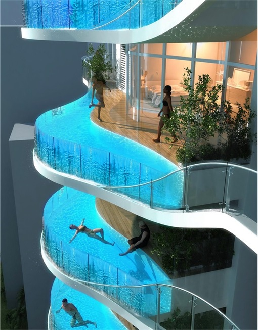 Lack of clean drinking water how about a private pool on - Hotel with swimming pool on every balcony ...