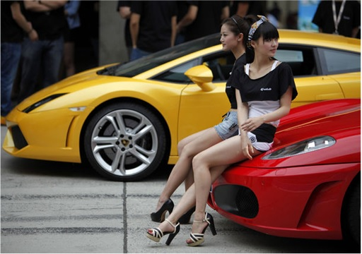 China Ultra Rich and Powerful - Girls Sitting on Sports Car