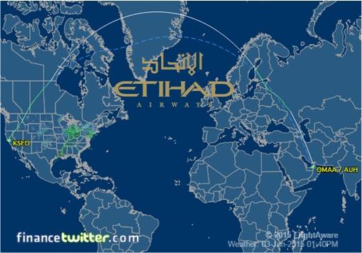 Etihad Airways Flight 183 from Abu Dhabi to San Francisco  - Route