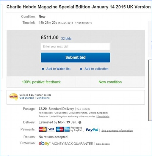 First Issue of Charlie Hebdo since the attack - Bid at eBay exceeded £500