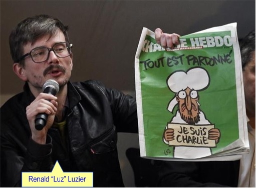 First Issue of Charlie Hebdo since the attack - Renald Luzier at Press Conference