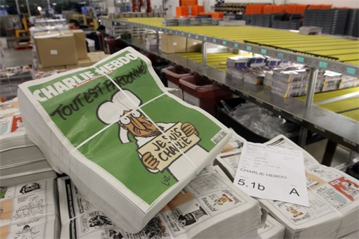 First Issue of Charlie Hebdo since the attack - magazines ready for distribution