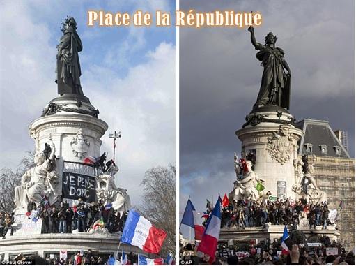 France Massive Rally - Crowds at Place de la République - 2 photos