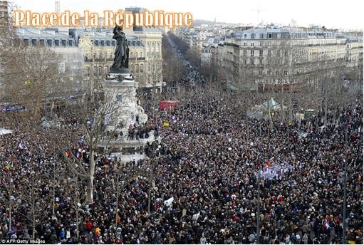 France Massive Rally - Crowds at Place de la République - 2