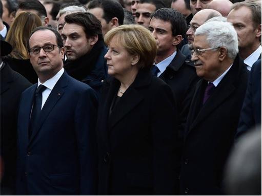 France Massive Rally - French President Francois Hollande, German Chancellor Angela Merkel, Mahmoud Abbas