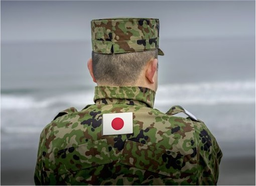 Japanese Soldier Facing Back with Flag