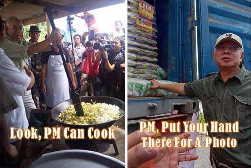 Malaysia in Flood - PM Najib Cook and Photo Drama