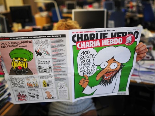 Reader reading Charlie Hebdo Controversial Magazine