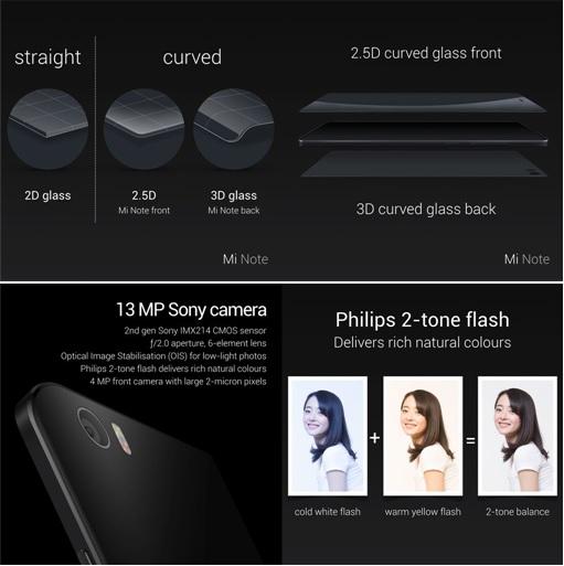 Xiaomi Mi Note - Curved Glass and and Camera Spec