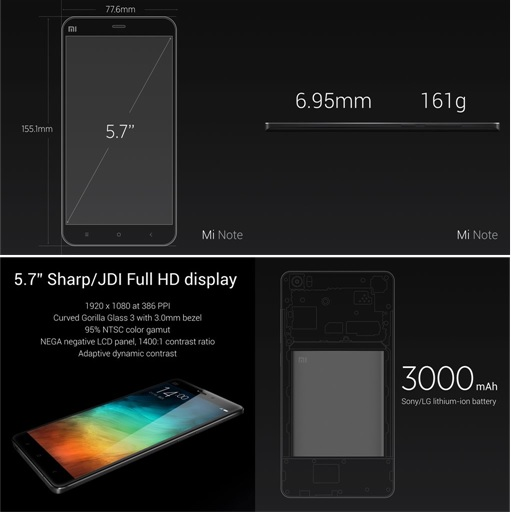 Xiaomi Mi Note - Display and Battery Spec