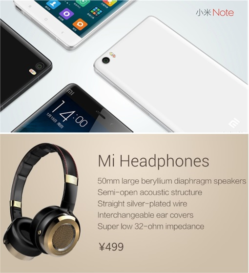Xiaomi Mi Note - Four Position and HeadPhones