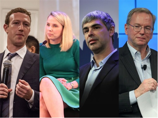 Facebook CEO Mark Zuckerberg, Yahoo CEO Marissa Mayer, and Google's Larry Page and Eric Schmidt