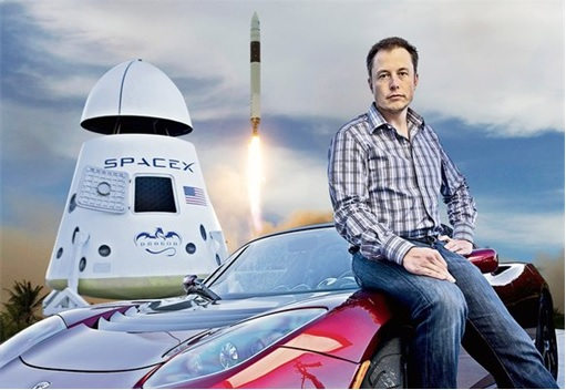 Elon Musk with SpaceX Dragon Spacecraft