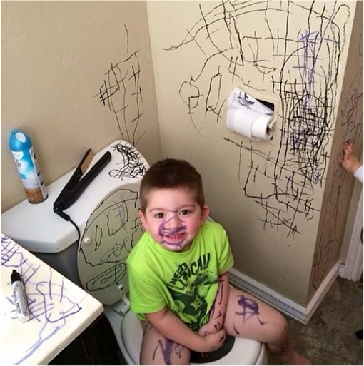 Kids Are The Worst - Drawing inside Toilet