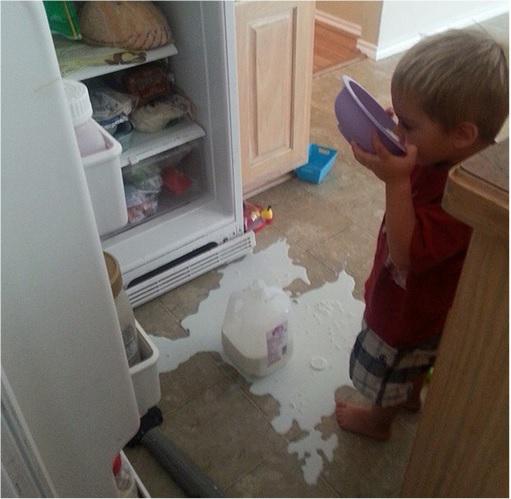 Kids Are The Worst - Drinks Milk with Spilt Milk on Floor