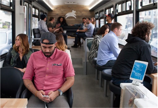 Leap Transit - WiFi, USB outlets, a laptop bar