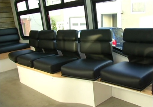 Leap Transit - interior black leather seats