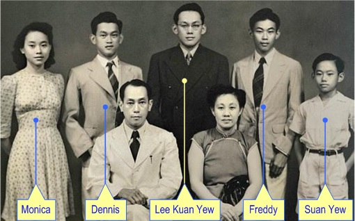 Lee Kuan Yew with Siblings and Parents - Photo