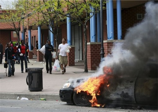 Baltimore Riots - Walking after Looting