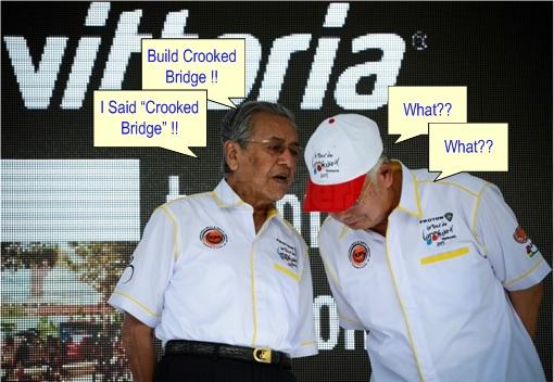 Mahathir Crooked Bridge - Najib Pretends Not Hearing