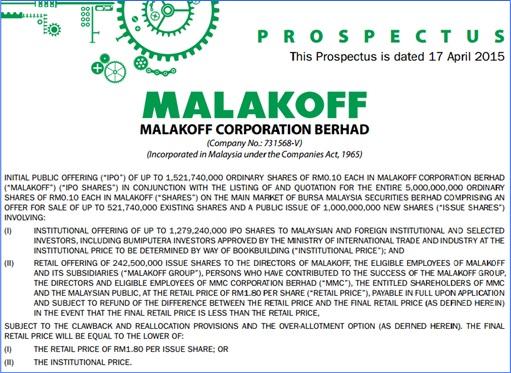 Malakoff IPO - Prospectus Main Info