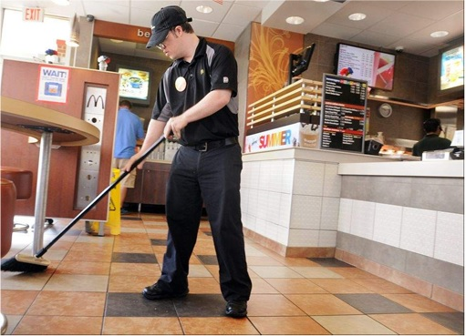 McDonald's Workers - Sweeping Floor