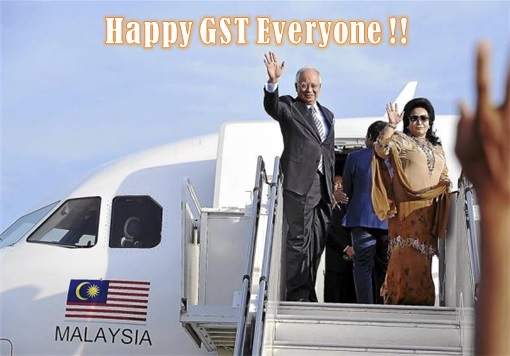 Najib and Rosmah Boarding Private Jet - Happy GST Everyone