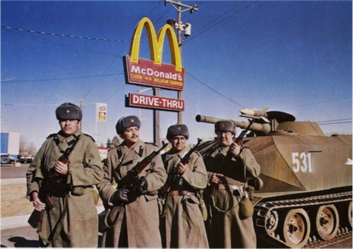 Russian Putin Administration Shut Down Undesirable Unfriendly Organization - Army At McDonald's Sign