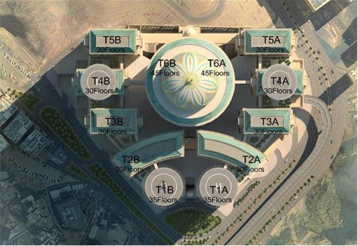 World's Biggest Hotel - Mecca Abraj Kudai - 12 Towers Top Plan View