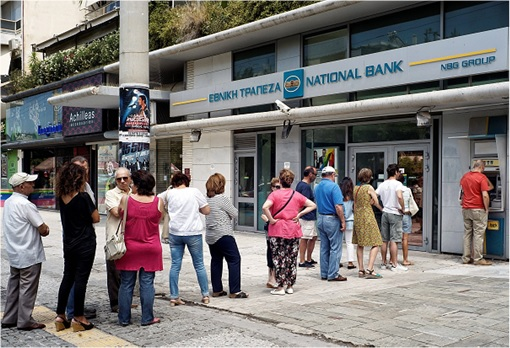 Greece Euro Exit - Greeks Queuing for ATM Withdrawals