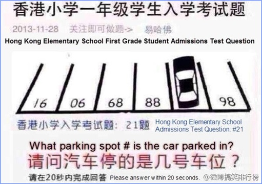 Hong Kong Elementary School Exam for Six Year Olds