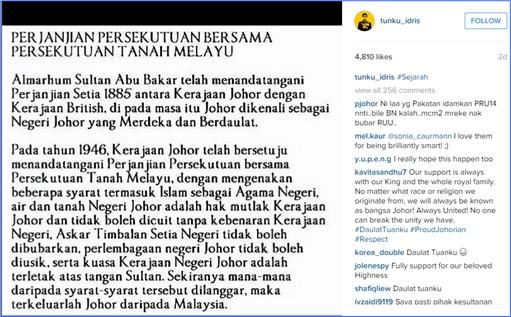 Johor Tunku Idris Instagram - Johor Agreement - Secession