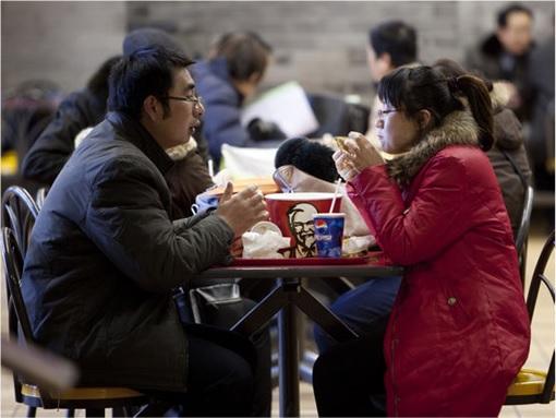 KFC China - Customers Eating Fried Chickens