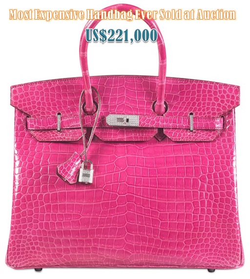 Most Expensive Hermès Birkin Bag Sold at Auction - Pink Crocodile Birkin US$221000