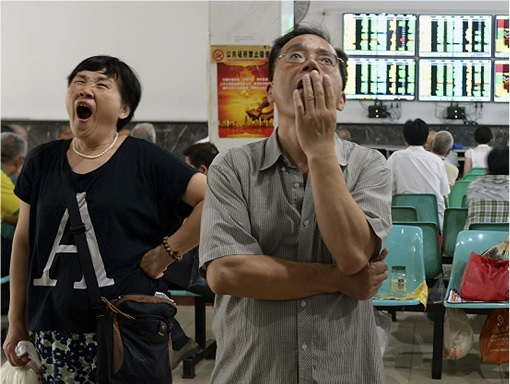 China Stock Market - Housewife Yawning and Man Dejected