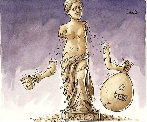 Greek Economy Collapsing - Statue with Falling Hands