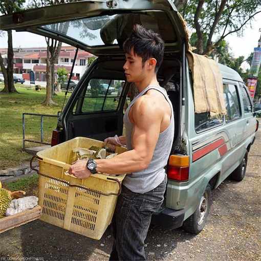 Jordan Yeoh - Hunky Durian Seller - Carry Baskets of Durian - With Shirt