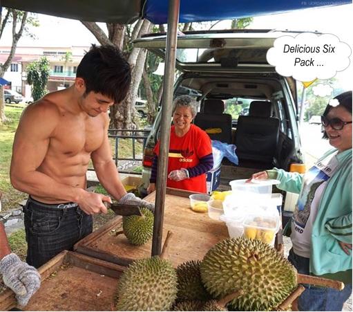 Jordan Yeoh - Hunky Durian Seller - Customer Looking at Six Pack Abs