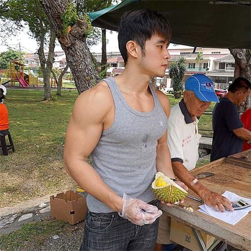 Jordan Yeoh - Hunky Durian Seller - Showing Durian - With Shirt