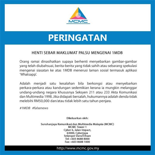 Malaysia MCMC Warning - Spreading Modified Pictures