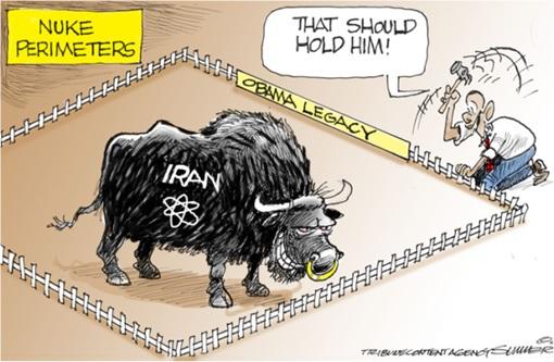 Nuclear Deal - Cartoon Barack Obama Fencing Iran