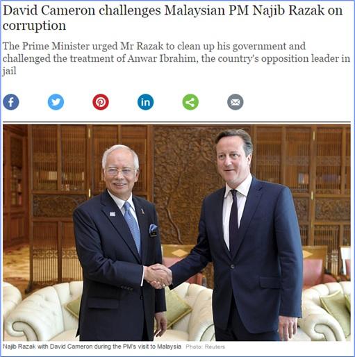 The Telegraph - David Cameron Challenges Najib Razak on Corruption