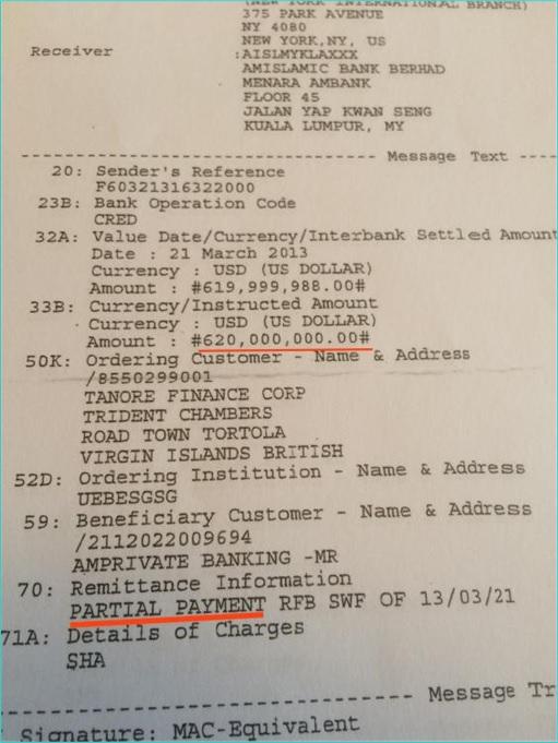 1MDB Scandal - Bank Receipt for USD619999988