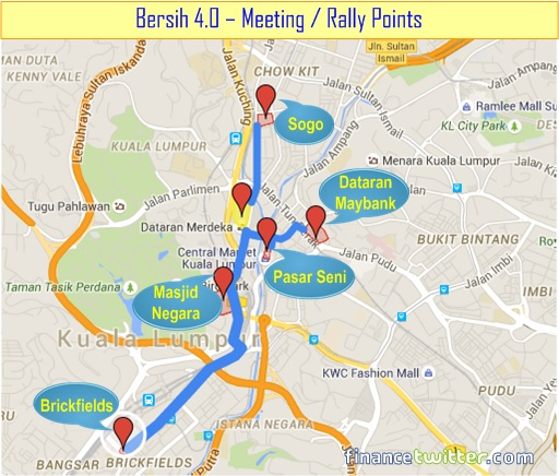 Bersih 4.0 - Meeting or Rally Points